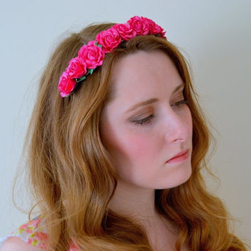 Floral crown flower crown rose crown headband wreath with roses festival - 'Candi'