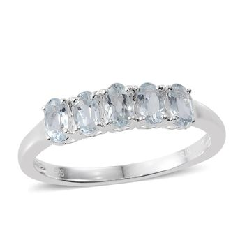 Aquamarine Sterling Silver 5 Stone Ring