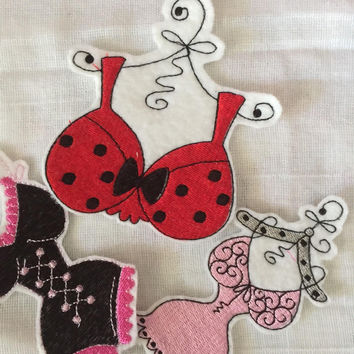 Black Lingerie Patch pink teddi patch red black bra patch