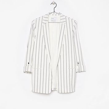 Loose-fitting blazer with rolled-up sleeves - Jackets - Bershka United States