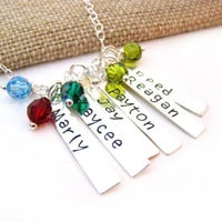 Mother Necklace - Grandmother Necklace - Hand Stamped Name Bar Swarovski Birthstone Initial Personalized Sterling Silver Necklace