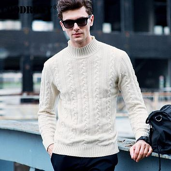 High Quality Winter Thick Warm Christmas Sweater Men Pure Merino Wool Pullover Men Fashion Turtleneck Cashmere Knitwear Men