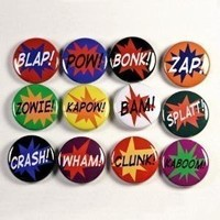 Superhero Sound Effects Set of 12 Buttons Pins by theangryrobot