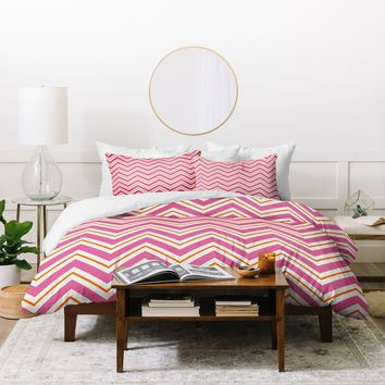Caroline Okun Berry Pop Chevron Duvet Cover