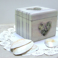 Heart Jewelry Box Lilac Stripes and Damask Rustic by MissSarahMac