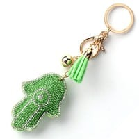 15Colors Lucky Women Keychain Amulet Hamsa Fatima Han Pendant Leather Rhinestone Key Finder Key Rings Accessories Women Chaveiro