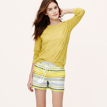 Ravenna Stripe Tasseled Shorts with 4 Inch Inseam