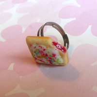 strawberry filled poptart ring polymer clay