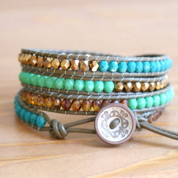 Bohemian beaded leather wrap bracelet, Turquoise, blue green bronze brown khaki, trendy artisan jewelry, wide wrap, hipster by OlenaDesigns