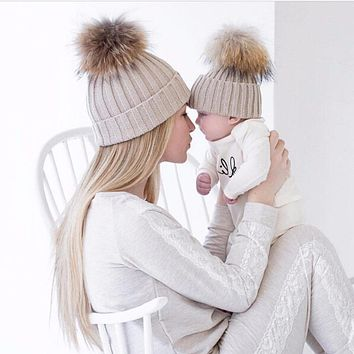 Puseky 2 Pcs Mother Kids Child Baby Warm Winter Knit Beanie Fur Pom Hat Crochet Ski Cap Cute