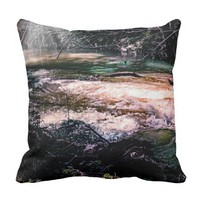 Outdoor throw pillow, flowing creek throw pillow