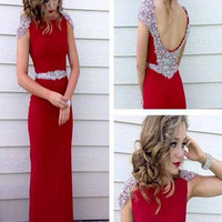 Custom Made A Line Round Neck Cap Sleeves Red Long Prom Dress,  Red Long Formal Dress