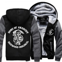 Hot New Sons of Anarchy Cosplay Coat Hoodie Winter Fleece Unisex Thicken Jacket Sweatshirts