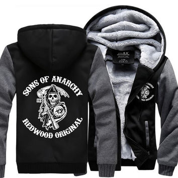 Sons of Anarchy Cosplay Coat Hoodie Winter Fleece Unisex Thicken Jacket Sweatshirts