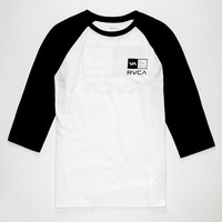 Rvca Right Box Mens Baseball Tee White  In Sizes