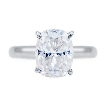 **NEW Elongated Cushion First Crush FAB Moissanite 4 Prongs FANCY Solitaire Ring