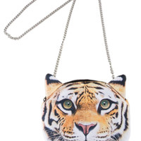Tiger Face Cross Body Chain Bag