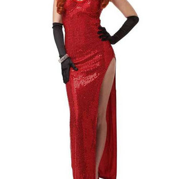 Sequin Long Casual Dress With High Side Slit Vestido Longo Jessica Rabbit Costume Movie Costumes Flare Dress Roupas Femininas