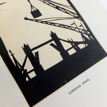 Papercut Print, Silhouette art, London Bridge, Scissor Cut picture, London Picture,  Silhouette Picture, Hummel Picture