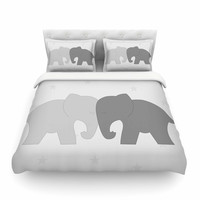 "NL Designs ""Black And White Elephant Love"" Black Animals Featherweight Duvet Cover"