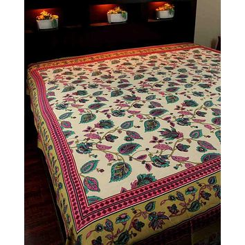 Cotton Floral Tapestry Tablecloth Coverlet Bedspread Dorm Decor Beach Sheet Full