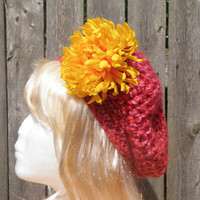 Chunky red, white and pink beret with large removable fall flower
