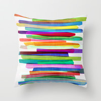Colorful Stripes 1 Throw Pillow by Mareike Böhmer Graphics