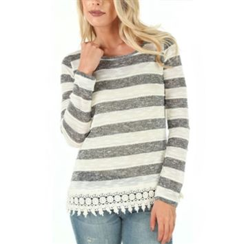Jolt Juniors Striped Knit Top with Lace Hem at Von Maur