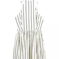 White Striped Print Pleated Spaghetti Strap Dress