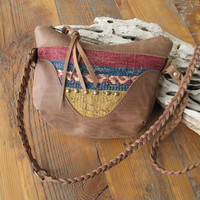 Small Messenger Bag,Vintage Kilim Bag, Mini Leather Bag, Small CrossBody, Leather Hobo, Compact Purse, Studded Bags, Small Purse, Carpet Bag