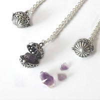 Amethyst  Wish Box Poison Hidden Locket Necklace