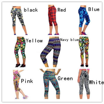 Capri Leggings High Waisted Floral Printing Yoga Pants Lady's Finess Workout Casual Pants Gym = 1932890052