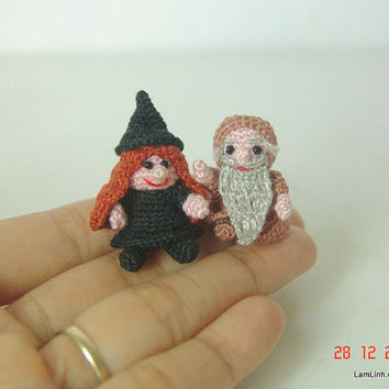 1 inch amigurumi witch and wizard - miniature crochet dolls