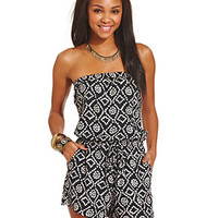 Angie Juniors' Strapless Printed Romper