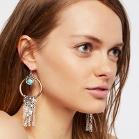 Free People Turquoise Monarch Chainmail Drop Hoops