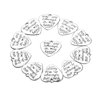 20 Pieces You are Always in My Heart Charms Findings for Jewelry Pendant Necklace Making 22 X 20mm