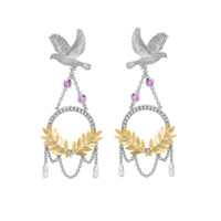 Theo Fennell - Dove & Olive Branch Drop Earrings
