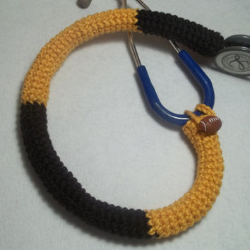 Pittsburgh Steelers Stethoscope Cover, Nurses Stethoscope Covers, LPN, RN, CNA, medical fashion accessories, crochet