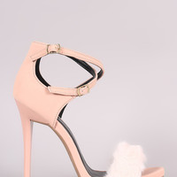 Qupid Nubuck Faux Fur Band Crisscross Ankle Strap Stiletto Heel