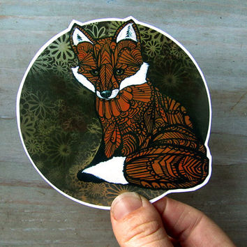 Fox Sticker Zentangle