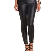 Quilted Faux Leather & Knit High-Waisted Pants - Black