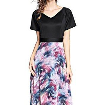 Joy EnvyLand Women Landscape Floral Chiffon Tunic Slim Summer Beach Midi Dress
