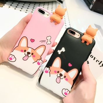 For iPhone 7 7 Plus 3D Welsh Corgi dog phone Cases For iphone 6 6s 6plus Cute pet dog Toys soft silicon case back cover