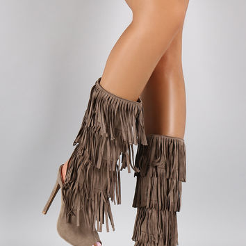Quipid Fringe Falling Peep Toe Boot from URBANOG