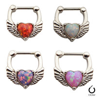 Online Shop 1pcs/lot 316L Surgical Steel And Red Pink Opal Heart And Wing Septum Clickers Nose Hoops Nose Ring 16g Septum Piercing Aliexpress Mobile