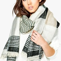Aleena Colour Block Stripe Blanket Scarf | Boohoo