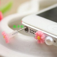 eBADA A set of pink flower earphone dust plug with simcard eject pin function & iphone home button sticker & dock charge antidust for iphone 5