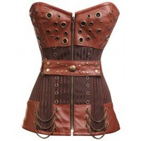 CD-234 - Striped Steampunk Corset with Waist Belt and Chain and Ring Detailing