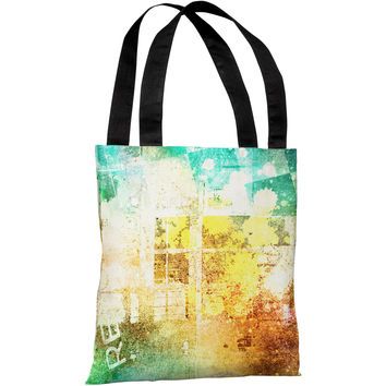 """Grunge Check Paint Splash"" 18""x18"" Tote Bag by OneBellaCasa"