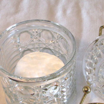 Glass Lidded Dish Pressed Glass Lidded Container Replacement Sugar Bowl